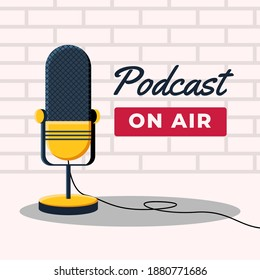 Podcast on air with microphone illustration