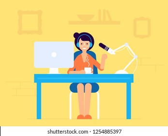 Podcast radio, broadcasting girl character illustration. Studio table with microphone and laptop with broadcast girl. Webcast audio record concept illustration.