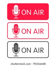 Podcast radio icon buttons set. Studio table microphone with broadcast text on air. Webcast audio record concept buttons.