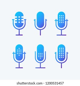 Podcast radio icon illustration set. Studio table microphone with broadcast text on air. Webcast audio record concept logo. Gradient colors.