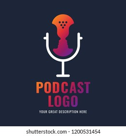 Podcast radio icon illustration. Studio table microphone with broadcast text on air. Webcast audio record concept logo. Podcast logotype.