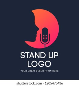 Podcast radio icon illustration. Studio table microphone with broadcast text on air. Webcast audio record concept logo. Stand Up Logo.