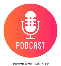 Podcast radio icon illustration. Studio table microphone with broadcast text on air. Webcast audio record concept logo.
