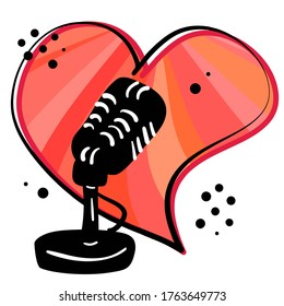 Podcast radio icon or logo design.The hand drawing black microphone with cartoon red heart. Logo, application, user interface. Stock vector illustration on white isolated background.