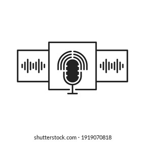 podcast selection or group voice chat room. concept of popular method of exchanging messages and thoughts in web or internet. outline trend modern graphic art design logo element isolated on white
