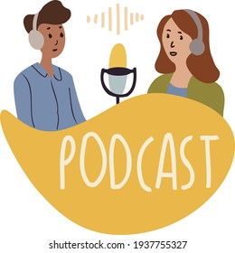Podcast show hand drawn flat vector illustration. Hosting doodle drawing. Female podcaster holding nameplate with podcast inscription, broadcaster at workspace isolated cartoon character