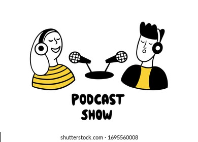 Podcast show. Man and woman making podcast in a radio studio. Two bloggers with microphones and lettering Podcast Show  on a white background