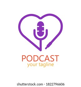Podcast simple logo with love for your media broadcast