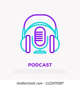 Podcast thin line icon: headphones and microphone. Modern vector illustration.