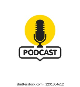 Podcast. Vector flat illustration, icon, logo design on white background.