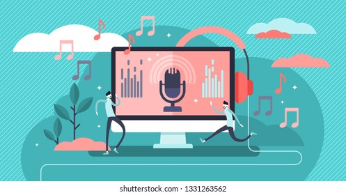 Podcast vector illustration. Flat tiny e-radio talk show, discussion and interview persons concept. Virtual media communication with microphone. Influencer marketing entertainment performance business