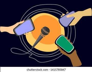 Podcasting and web radio concept illustration with stress on global outreach. Three hands of different colors with smartphones pointed at the microphone. Universe-like abstract background