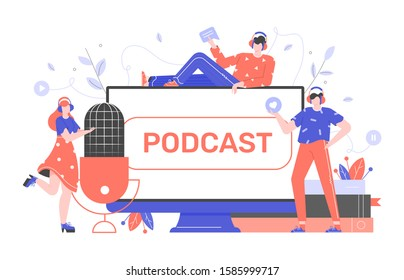 Podcasts,radio, online courses. Young people record episodic series of digital audio files, an online show. Large microphone, computer monitor, books. Vector flat characters. Concept illustration.
