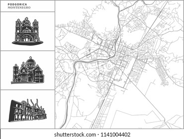 Podgorica city map with hand-drawn architecture icons. All drawigns, map and background separated for easy color change. Easy repositioning in vector version.