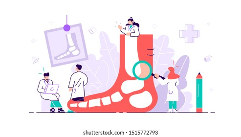 Podiatrist concept. Feet toe trauma, pathology and illness discomfort treatment with examination, surgery or procedures. Tiny foot, ankle and lower extremity disease persons. Flat vector illustration
