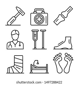 Podiatrist icons set. Outline set of podiatrist vector icons for web design isolated on white background