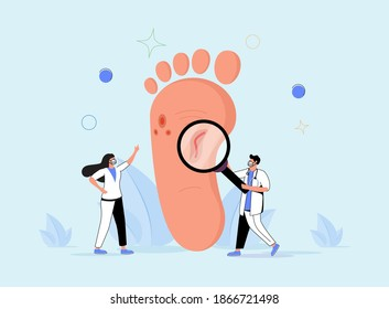Podiatry- foot, leg, lower extremity and ankle medical branch concept. Tiny people inspecting foot. Doctor treatment of disorders and diagnosis. Abstract patient inspection scene.
