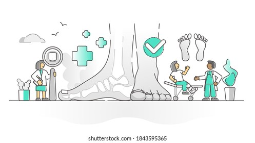 Podiatry health medicine with feet and ankle doctor monocolor outline concept. Extremity limbs pathology and inspection after trauma injury vector illustration. Leg deformation diagnosis or treatment.