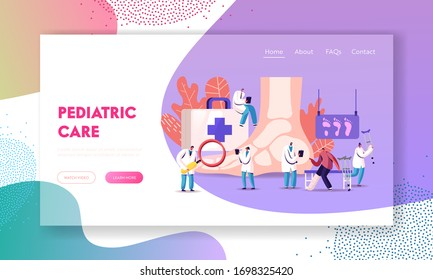 Podiatry Landing Page Template. Doctors Podiatrists Character Examine Foot, Ankle and Lower Extremity Disease. Feet Toe Trauma, Pathology and Illness Treatment. Cartoon People Vector Illustration
