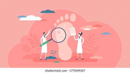 Podiatry as medicine brunch devoted to foot, leg, lower extremity and ankle tiny persons concept. Doctor surgical treatment of disorders and diagnosis knowledge. Abstract patient inspection scene.