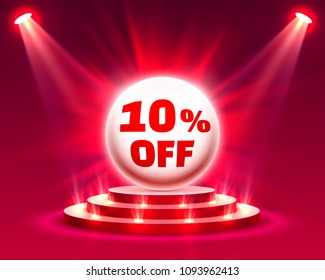 Podium 10 off with share discount percentage. Vector illustration