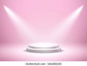 Podium and beams on pink studio room background. Realistic white circle plinth, pillar, pedestal or display stage. Vector prize empty podium platform stand with projector lights.