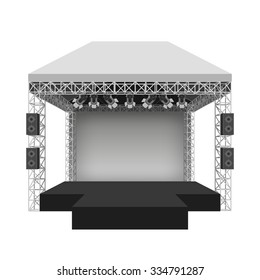 Podium concert stage. Performance show entertainment, scene and event. Vector illustration