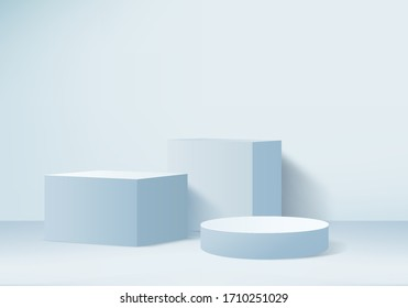Podium display in abstract blue composition, 3d render, 3d illustration, Background mockup 3d Blue with podium and minimal light scene display, Stage mockup abstract geometric shape blue pastel color.