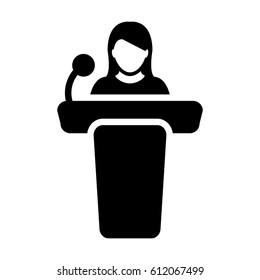 Podium Icon - Person Public Speech with Microphone Glyph Pictogram Vector illustration