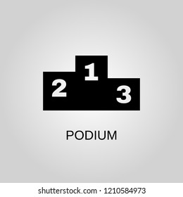 Podium icon. Podium symbol. Flat design. Stock - Vector illustration