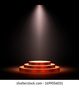 Podium with lighting. Scene with for award ceremony on dark background. Vector illustration. Empty pedestal.