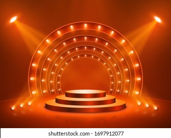 Podium with lighting. Stage, Podium, Scene for Award Ceremony. Vector illustration