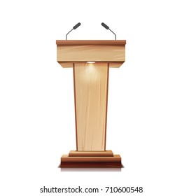 Podium With Microphone. Realistic Wooden Tribune Pulpit Isolated Vector. With Two Microphones. Wooden Classic Conference Podium Stand Rostrum. Illustration