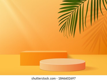 Podium minimal on stage with palm summer orange platform. studio background vector 3d rendering orange podium. Stage to show cosmetic product. Stage summer on pedestal modern 3d studio orange platform - Shutterstock ID 1846602697