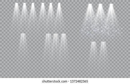 Podium on bright background. Empty pedestal for award ceremony. Platform illuminated by spotlights. Vector illustration