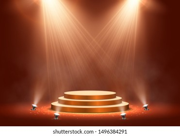 Podium on bright background with smoke. Empty pedestal for award ceremony. Platform illuminated by spotlights. Vector illustration.