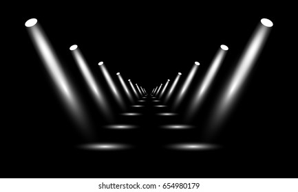 Podium, pedestal or platform illuminated by spotlights on black background. Stage with scenic lights. Vector illustration