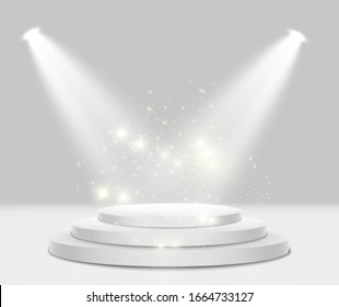Podium with a red carpet. Scene for the award ceremony. Pedestal. Floodlight. Vector illustration. Podium in the light in the stars.