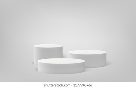 Podium scene or 3D round pillar stand scene and winner pedestal in studio on vector gray or white minimal background
