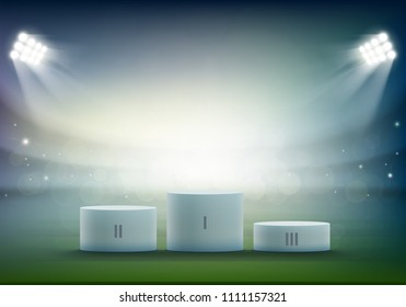 Podium for sports awards at the stadium. Rewarding winner of the competition. Stock vector illustration.