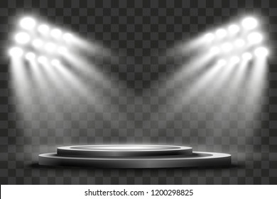Podium with a spotlight on a dark background, first place, fame and popularity. Vector illustration. Realistic podium illuminated by spotlights.