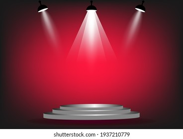 podium with spotlight for show with red wall background