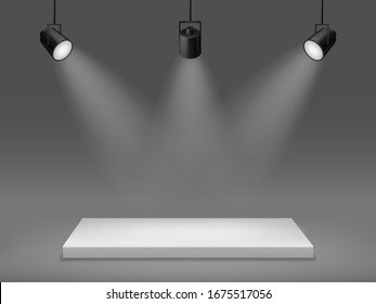 Podium with spotlights. Illuminated empty pedestal, 3d platform for show, rectangular scene with studio light, realistic vector award concept