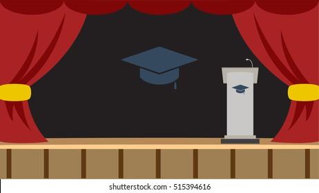 Podium stage with Graduation Hat Symbol