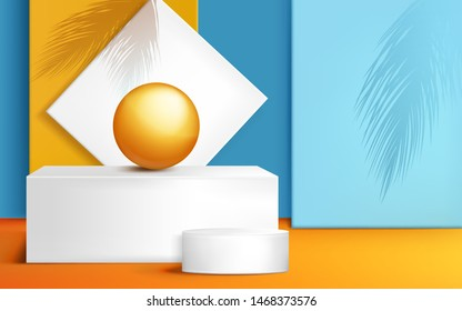 Podium, stage for product presentation with orange ball and palm leaves shadows on wall, rectangle and round abstract white platforms composition for presenting items. Realistic 3d vector illustration