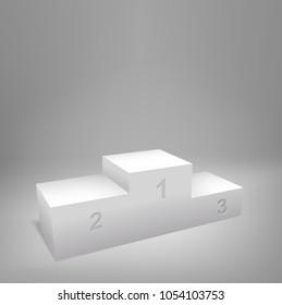 Podium with three steps. Realistic Vector illustration.
