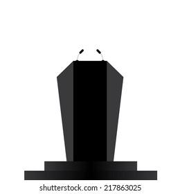 Podium, Tribune, Rostrum Stand with Microphones