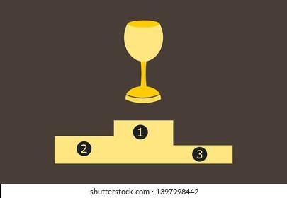 Podium trophy gold vector illustration inkscape