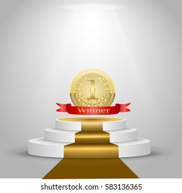 Podium winner of the gold medal first place, the presentation. Red ribbon with the inscription winner. Floodlights and a golden path. realistic 3D vector illustration
