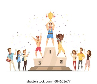 Podium winners man composition with journalists fans and male sportsman flat doodle style characters celebrating victory vector illustration